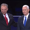 Democratic vice presidential nominee Tim Kaine and Republican vice presidential nominee Mike Pence at the Oct. 4 debate