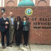 NCAAN members Lee Storrow, Mark Benton, Esther Ross and Allison Rice in 2016 discuss premium assistance for the HIV Medication Assistance Program.