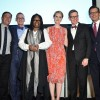Bailey House board chairman Matt Farber, Bailey House CEO Dan Tietz, Whoopi Goldberg, Cynthia Nixon, James LaForce, Stephen Henderson, Bailey House Gala & Auction 2018, Pier 60 at Chelsea Piers, NYC, March 8, 2018