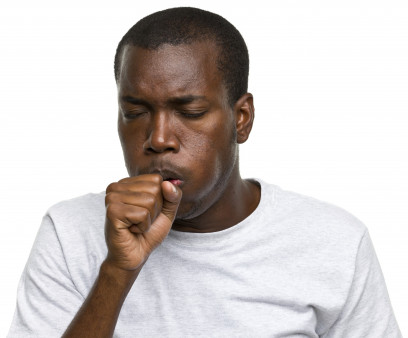 African-American man coughing